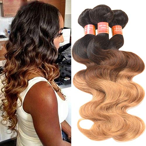 Price comparison product image gainvictorlf 1 Bundle Long Brazilian Virgin Body Wave Real Human Ombre Weft Hair Extesions - 10Inch
