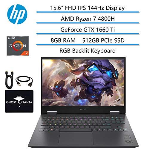 2020 HP OMEN Gaming Laptop, 15.6″ FHD IPS 144Hz, AMD Ryzen 7 4800H 8-core(Beat i7-9850H), GeForce GTX 1660 Ti, 8GB RAM, 512GB PCIe SSD, RGB Backlit KB, FHD Webcam, HDMI, WiFi 6, w/GM Accessories