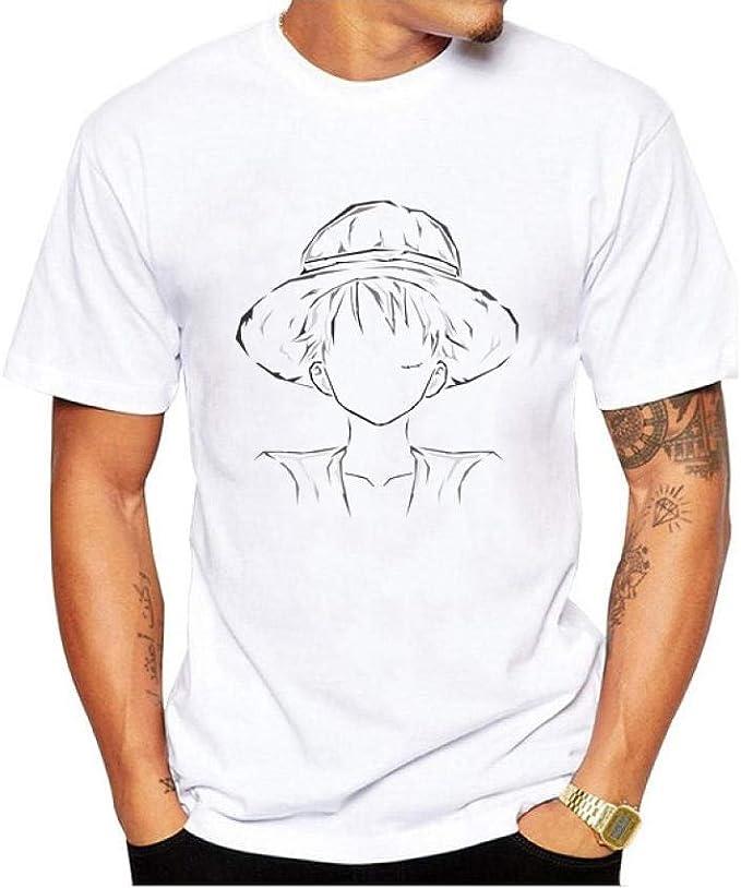JJJDD One Piece Luffy 3DT Camisa de Verano Cuello Redondo Impresión Hombre de Dibujos Animados Casual Manga Corta @ 21_S: Amazon.es: Ropa y accesorios