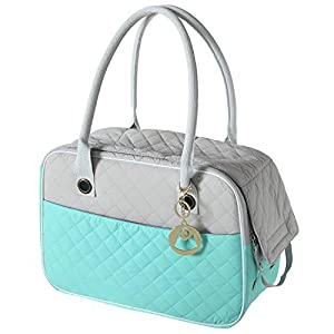 MG Collection 2-Tone Quilted Soft-Sided Dog & Pet Carrier Handbag Tote with Mesh Top Panel, Turquoise