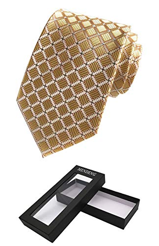MENDENG Classic Tie Silk Necktie Gold Silver Plaid Ties For Men with Gift Box