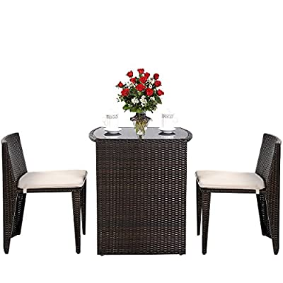Goplus® 3 PCS Cushioned Outdoor Wicker Patio Set Seat Brown Garden Lawn Sofa Furniture New