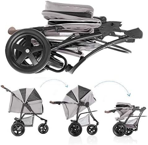 513CVrNJzkL. AC - Hauck TOGfit Pet Roadster - Luxury Pet Stroller For Puppy, Senior Dog Or Cat | Easy Foldable Three Wheels Travel Pet Jogger Max. Loading 70 Lb, Mattress Included - Gray