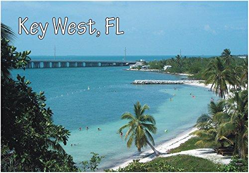 Key West, Florida, Beach, Palm Trees, FL, Souvenir Magnet 2 x 3 Fridge - City Beach Fl Palm Place