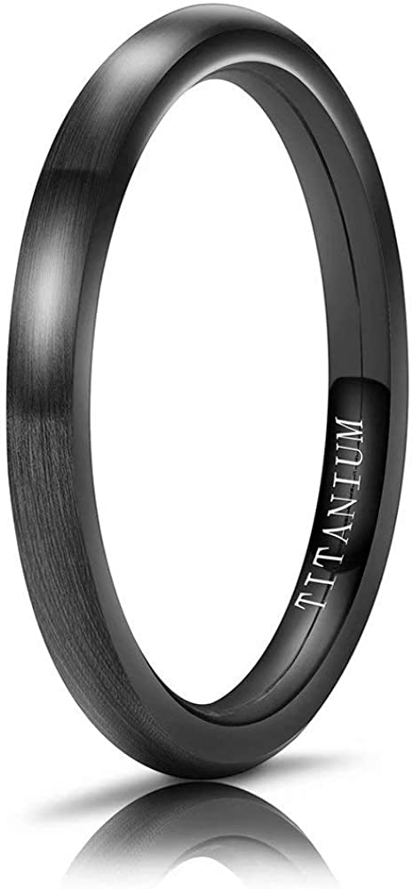 M MOOHAM Titanium Rings 2mm 4mm 6mm 8mm Brushed Wedding Band Classic Domed Ring Comfort Fit Size 5 to 13, Silver, Rose Gold, Blue, Gold, Black