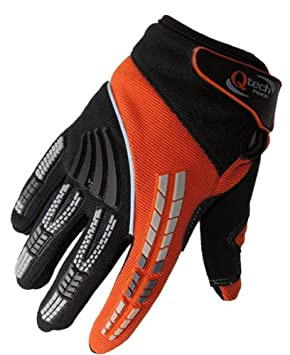 GREEN XXS Qtech CHILDRENS Motorcycle Motorbike Riding MX GLOVES for Kids Trials Motocross Cycling with Short Cuff Protected