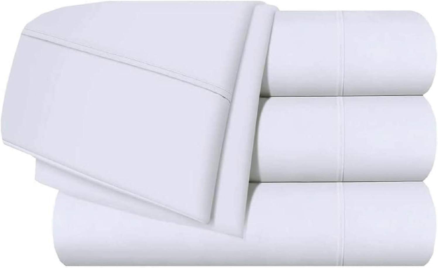 Giza Cotton Bed Sheet Set (4 PCs) 100% Certified Giza Egyptian Cotton Sheets Twin Size Giza-Sheets-Set Fits Mattress Upto 15-18'' Deep Pocket Giza Dream Sheets (Twin, White)