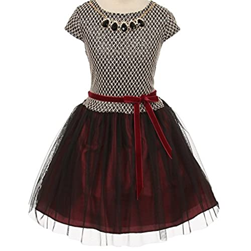 Big Girls Short Sleeve Holiday Girl Flowers Girls Dresses Burgundy Size 12