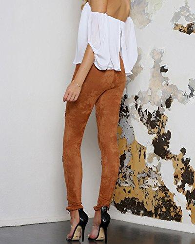 Femmes Haute Denim Jeans Longue Sangles Sexy Croises Trou Taille Retro Marron Pantalons rftq5x0rw