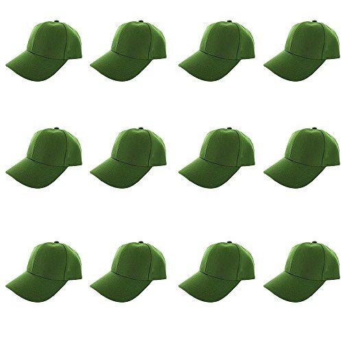 Plain Blank Baseball Caps Adjustable Back Strap Wholesale LOT 12 Pack- Lime Green ()