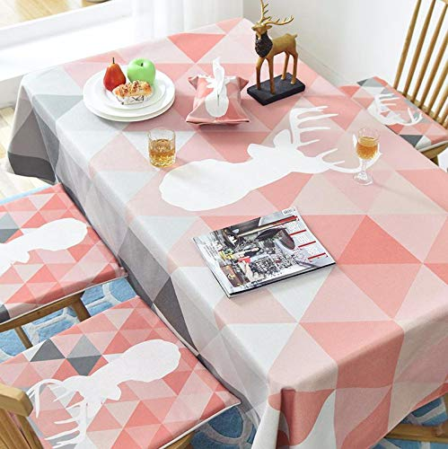 Nordic table cloth rectangular cartoon deer printed decorative tablecloths pink cotton thick dinning table cover home tablecloth  Deer B07RKR67KD