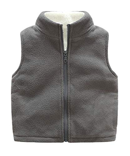 Aivtalk Boys Winter Vest Thicken Warm Polar Fleece Sleeveless Two Slant Pockets Jacket 8-9T Grey