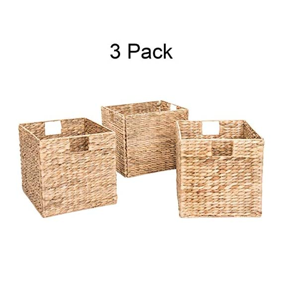 Decorative Hand-Woven Water Hyacinth Wicker Storage Baskets, Set of Three 13x11x11 Baskets Perfect for Shelving Units - Set of three small wicker storage baskets each measuring 12 3/4-inches L x 11-inches W x 11-inches H assembled These decorative storage boxes are a great addition to any home and are suitable for storing a wide range of household items The baskets conveniently fold flat for easy storage when not in use - living-room-decor, living-room, baskets-storage - 513CWocp4kL. SS570  -