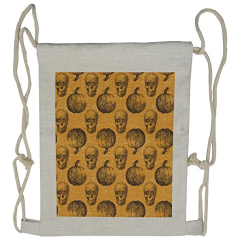 Lunarable Pumpkin Drawstring Backpack, Halloween Theme Scary Skull, Sackpack -