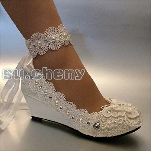 de Cordón de US nupcial zapatos marfil cuña boda marfil pulsera Perlas para tamaño el 11 JINGXINSTORE en 5 5 de 8 Ribbon tobillo cm Z5wtqxzn
