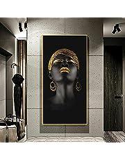 Canvastavlor,Afrikansk konst Svart kvinna med gyllene huvudbonad Tavlor på väggen Afrikansk tjej Affischer och tryck Väggkonst Väggdekorationer-50x100cm