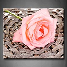 First Wall Art - Pink Beautiful Pink Rose On Wicker Mat Close Up Wall Art Painting Pictures Print On Canvas Flower The Picture For Home Modern Decoration (Stretched By Wooden Frame,Ready To Hang)