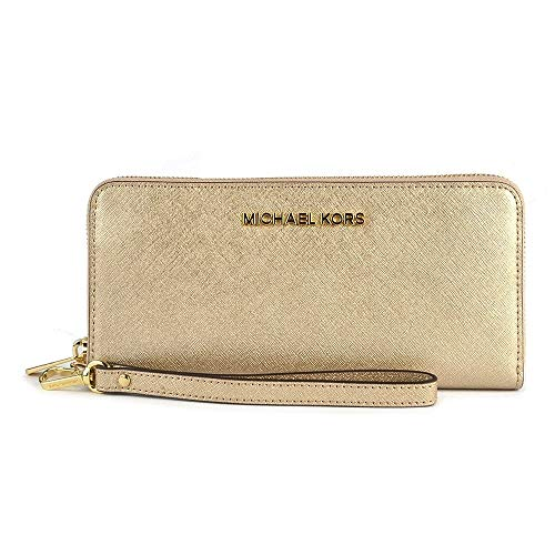 Michael Kors Women's Jet Set Travel Continental Saffiano Wristlet Leather Wallet Baguette, Gold, Pale Gold, One Size by Michael Kors