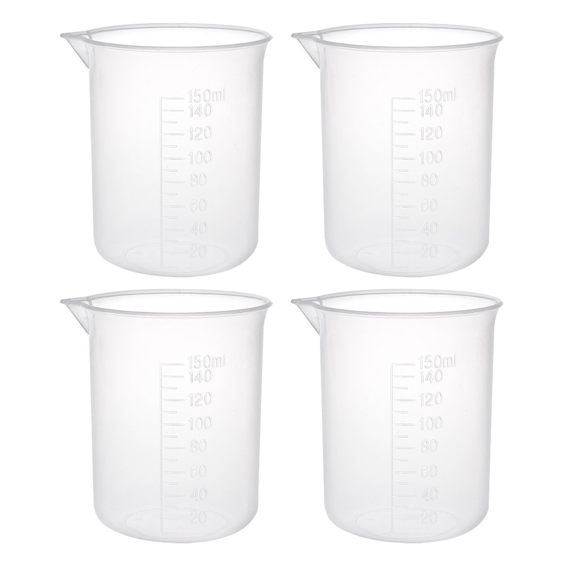 uxcell 4pcs Measuring Cup Labs PP Graduated Beakers 150ml a18031400ux0107