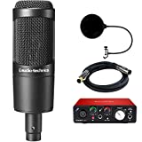 Audio-Technica Cardioid Condenser Microphone (AT2035) with Focusrite Scarlett Solo USB Audio Interface, Monoprice Premier Series XLR 10' Male to Female Cable & Pop Shield Microphone Wind Screen