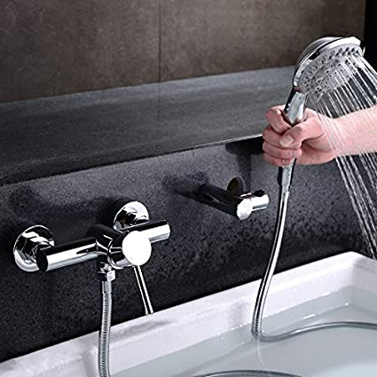 Modern Tub Filler Faucet With Wand Style Hand Shower Wall Mount