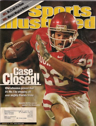 (Sports Illustrated January 8 2001 Quentin Griffin/Oklahoma Sooners Cover, Miami Hurricanes, Washington/Purdue in Rose Bowl, Oregon State/Notre Dame, Ray Lewis/Baltimore Ravens, Mario Lemieux/Pittsburgh Penguins)
