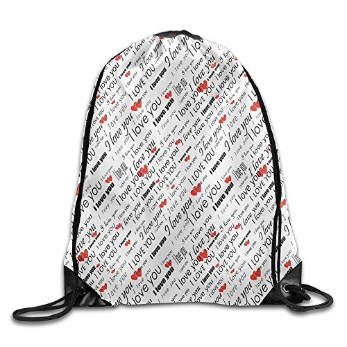 kpack Romance Words With Hearts In Different Characters Flirt Celebration Pattern Drawstring Gym Sack Sport Bag For Men And Women ()