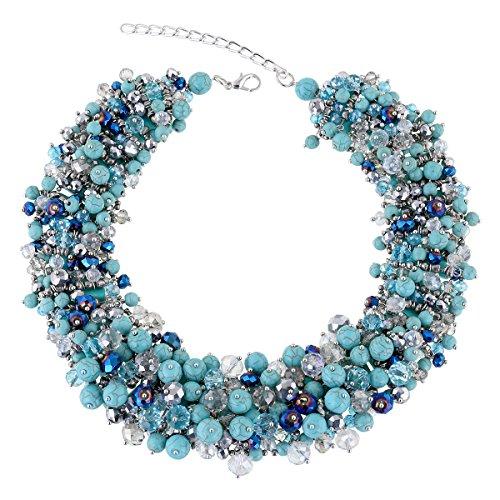 KAYMEN FASHION JEWELLERY Women's Bohemian Multi-Layer Imitation-Turquoise Crystals Chokers Necklace