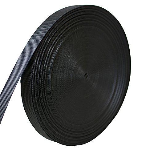 AMP 5000lbs Rated Heavy Duty Mil Spec Military Grade Nylon Fastening Webbing Strap 1.5'' Wide 50 Yards Black by AMP
