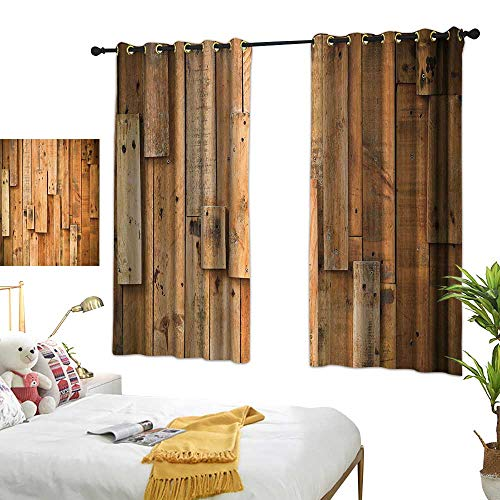 """Warm Family Insulated Sunshade Curtain Wooden Lodge Style Teak Hardwood Wall Planks Image Print Farmhouse Vintage Grunge Design Artsy Privacy Protection 55"""" Wx45 L"""