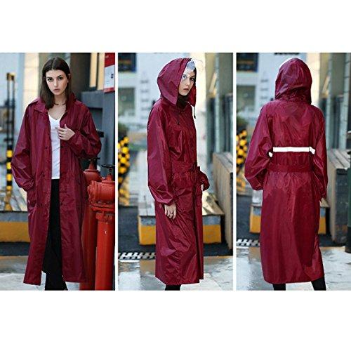 UNIQUEBELLA Liebespaar Erwachsene Größe Siamese Lange Regenjacke Regenmantel Mit Kapuze Rot L