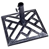 "Giantex Patio Umbrella Base Stand Cast Iron Outdoor Deck Porch Lawn Garden Market Standing Holder Square Heavy Duty Cast Iron Umbrella Stand Outdoor Base (17.3"")"