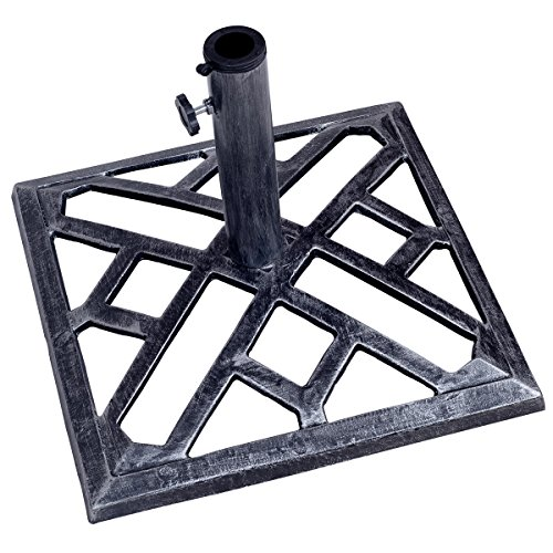 "Giantex Patio Umbrella Base Stand Cast Iron Outdoor Deck Porch Lawn Garden Market Standing Holder Square Heavy Duty Cast Iron Umbrella Stand Outdoor Base (17.3"") by Giantex"
