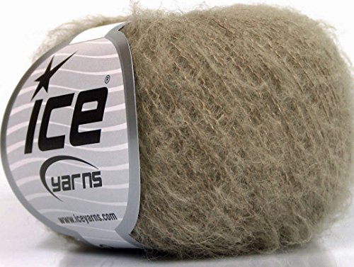 Lot of 10 Skeins Ice Yarns KID MOHAIR FINE (30% Kid Mohair) Yarn Beige Melange - Kid Mohair Yarn