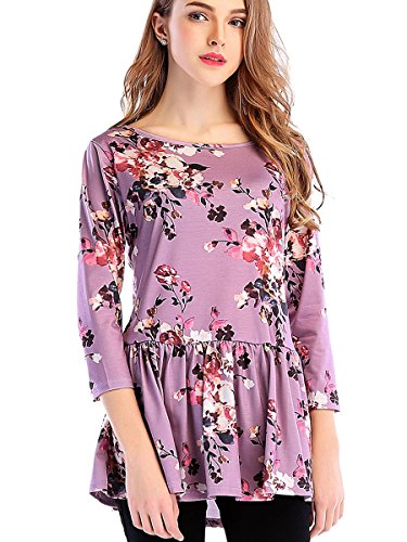 St. Jubileens Women's 3 4 Sleeve Floral Print T Shirt Peplum Casual Blouse Tops Light Purple - Light Womens Blossom T-shirt