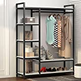 LITTLE TREE Free-Standing Closet Organizer,Heavy Duty Clothes Rack with 6 Shelves and Handing Bar, Large Closet Storage Stytem & Closet Garment Shelves