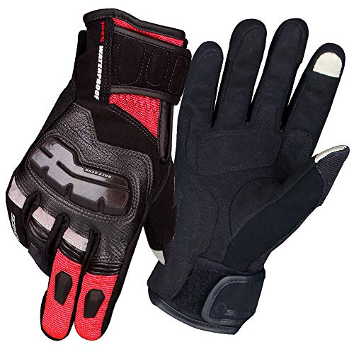 SCOYCO Touring Motorcycle Gloves,Warm,Waterproof,Windproof,with Thermal Lining,Screen Touch Capable,Reinforced Knuckle,for Fall & Winter(RED,L)