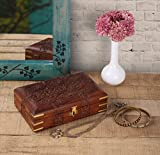 Diwali Gifts Decorative Wooden Jewellery Trinket Holder Keepsake Storage Box Organiser with Intricately Hand Carved Floral Design & Velvet Interior by Store Indya