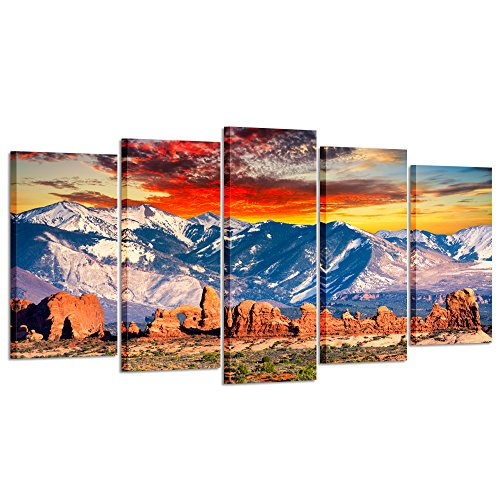 Kreative Arts - 5 Pieces Modern Canvas Painting Wall Art Red Clouds And Cool Rocky Mountains In Arches National Park Utah Sunset Landscape Print On Canvas Giclee For Home Decor - Park National Photograph Utah