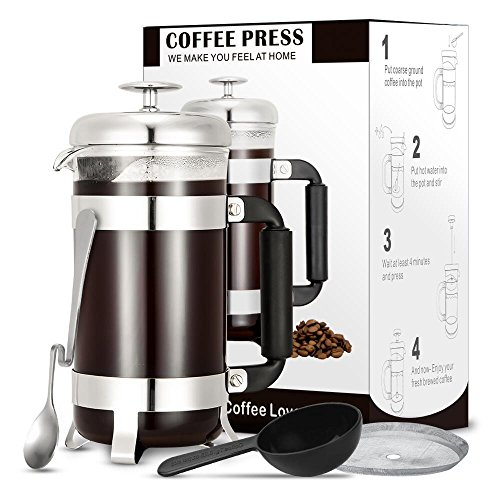 French Press Coffee Maker – Coffee Press – 34Oz with 4 Stainless Steel Filter System, Super Heat Resistant Borosilicate Glass, Durable and Easy-Cleaning, Bonus Items in Package