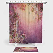 Art Shower Curtain And Floor Mat Combination Set Enchanted Cherry Blossom Petals Field Shabby Chic Floral Garden Spring Picture Decorative For decoration and daily use Light Pink Peach