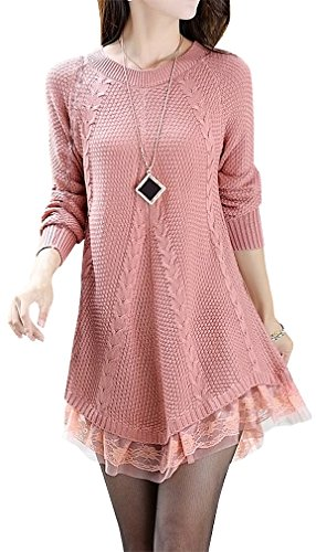Cardigan Lace Wool (Women's Stylish Knitted Sweater Lace Decoration S26, Pink)