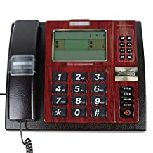 Business Office Home Landline Artificial Leather High-end Telephones Shaking Head Handsfree Telephone Lightning Protection (2 Colors Optional) (Color : Black)