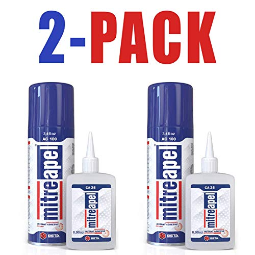 MITREAPEL Super CA Glue (2 x 0.90 oz) with Spray Adhesive Activator (2 x 3.40 fl oz) - Crazy Craft Glue for Wood, Plastic, Metal, Leather, Ceramic - Cyanoacrylate Glue for Crafting & Building (2 PACK)