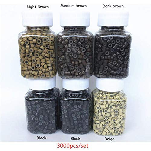 ZZRRYY 6 Bottle/Set 3000PCS Silicone Micro Link Rings Lined Beads for I tip Hair Extensions (1000PCS Black,500PCS each Dark Brown, Light Brown,Medium brown, Beige) 3000pcs, 5 Colors