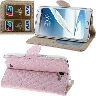 """3 en 1: funda cuadrados rosas plegable / soporte/ portafolio para smartphone Samsung Galaxy Note 3- NOVAGO® (rosa) 5.7"""""""