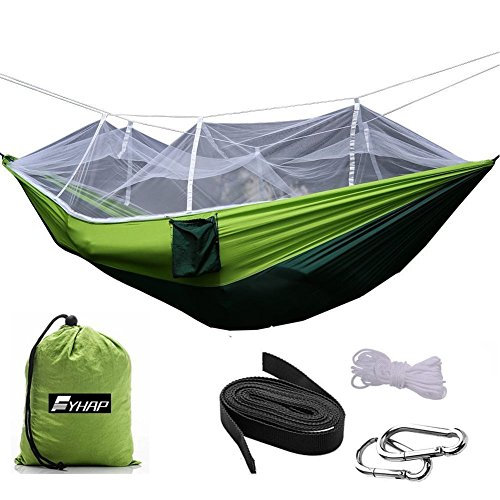 Hammock with Mosquito Net FYHAP Lightweight Nylon Portable Camping Hammock,Best Parachute Single or Double Hammock for Backpacking Camping Hiking Travel Beach Yard Green 102