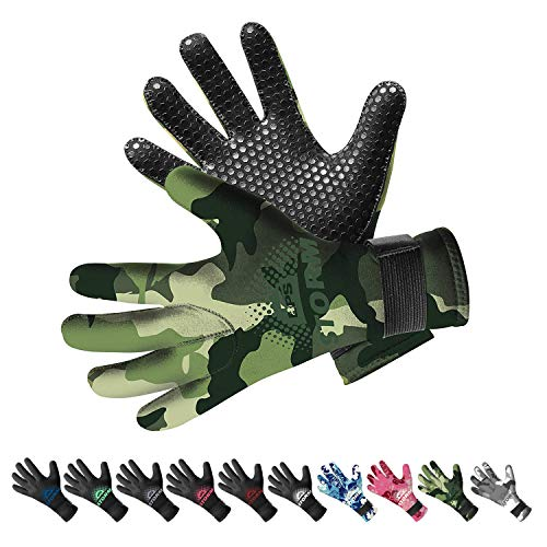 BPS 3mm Neoprene Gloves with Anti-Slip Rubber Printing - Five-Finger Gloves for Water Jetski, Wakeboarding, Rafting, Surf, and Other Winter Activities - Unisex (Green Camo/Olive Green, - Scuba Gloves Diving