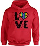 Awkward Styles Unisex Love Hoodie Hooded Sweatshirts Gay Pride Hoodie Hooded Sweatshirts Rainbow Heart Love Red M