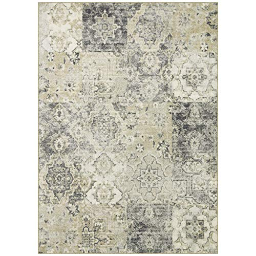 Maples Rugs Area Rugs - Vintage Patchwork 5 x 7 Large Rug [Made in USA] for Living Room, Bedroom, and Dining Room, Grey